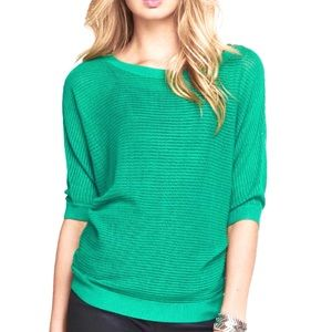 Express Kelly Green Mesh Dolman Sweater